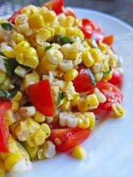 Corn, tomato, basil salad