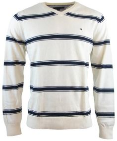 Tommy Hilfiger Mens Striped V-Neck Pullover Sweater - XL - Cream/Navy