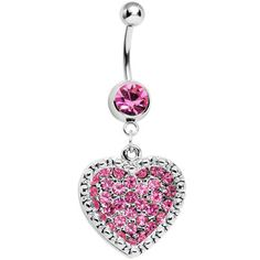 Pink Gem Paved Heart Dotted Line Belly Ring | Body Candy Body Jewelry