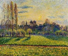 View of Bazincourt, Sunset - Camille Pissarro