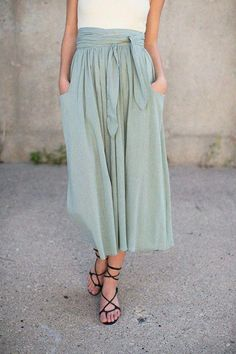 549522bc8 Sage Midi Skirt I'd like the style if it does not make my hip/butt area  look too big. I'd like it with a slightly looser shirt with possibly a  shrug or ...