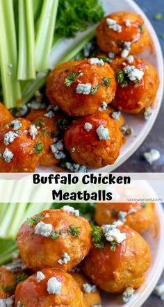 + WonkyWonderful This Buffalo Chicken Meatballs Recipe is great for parties, game day or just for a dinner idea. Easy oven baked chicken meatballs flavored with spicy buffalo wing sauce. Chicken Meatball Recipes, Chicken Flavors, Baked Chicken Recipes, Chicken Lasagna, Ground Chicken Meatballs, Buffalo Chicken Meatballs, Easy Dinner Recipes, Appetizer Recipes, Dairy Free Appetizers