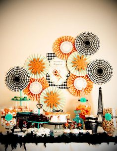 A STUNNING Paper Fan Backdrop at a Vintage Parisian Circus Party