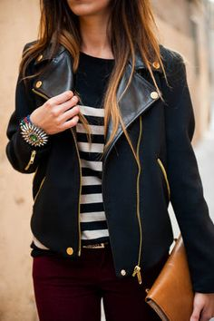 A black leather jacket can look awesome with skinny jeans and awesome shoes.
