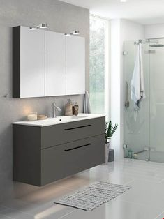Concrete Tiles, Pedestal Sink, Well Thought Out, Black Kitchens, House Painting, Double Vanity, Bathroom, Home, Design