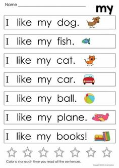 English Activities For Kids, English Worksheets For Kindergarten, Kindergarten Reading Activities, English Lessons For Kids, Learn English Words, Kids Learning Activities, Literacy, Preschool Sight Words, Teaching Sight Words