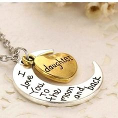 """DAUGHTER I Love You to the MOON & Back Charm Necklace Pendant 18"""" Chain Two Tone #HandmadewithLove #Pendant"""