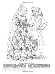 Medieval fashions coloring book 70