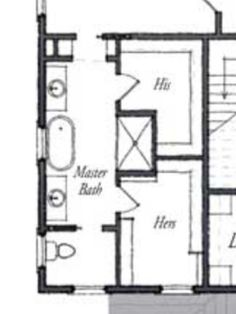 Master bath floor plan...except I see no need for his/her sinks. I'd rather have more storage/cabinet/and counter top space.