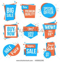 Collection Of Sale Discount Styled Origami Banners Labels Tags Emblems Flat Design Vector