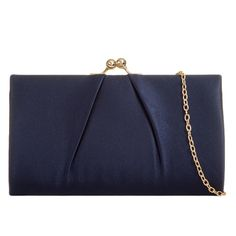 Navy blue satin clutch bag / shoulder bag with pleated detail to the front The bag fastens with a clasp to the top it has a detachable gold coloured Navy Clutch Bags, Clutch Purse, Purse Wallet, Pashmina Wrap, Prom Accessories, Prom Outfits, Blue Satin, Metal Chain, Fashion Bags