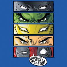 """Eyes Of Heroes"" by Fle is $10 today at ShirtPunch.com (02/26). #tshirt #batman #thehulk #ironman #superman #deadpool #dc #marvel #4thwall"