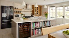 Family Oak And Painted^Shaker Kitchen Gallery - bookcase good idea