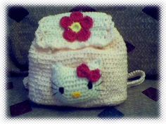 Hello Kitty Child's Backpack ~ Free Crochet Pattern | Designed by:  Crystal Quintanilla | web.archive.org/web/20010429062252/http://www.homestead.com/hookingit/hKittyBPpattern.html