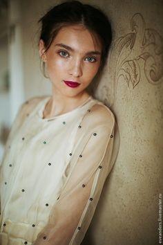 Купить Eleonora - полупрозрачное платье из шелковой органзы - в горошек, ретро, ретро стиль, винтаж