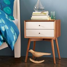 """Mid-Century Nightstand - White + Acorn   West Elm Overall product dimensions: 18""""w x 15""""d x 24""""h.  $239"""