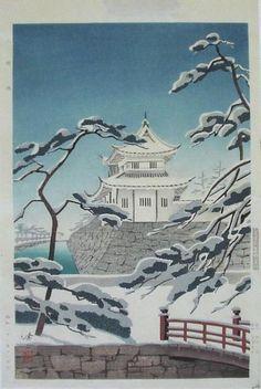 Japanese Shin Hanga Woodblock Print Kawai Snow