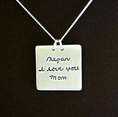 Signature Necklace  Handwriting Jewellery  by Silverymoonjewellery, $115.00