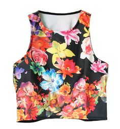 Tropical Print Crop Vest With Cutout Back Want the black one..
