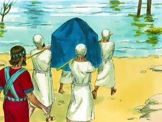 Free Bible illustrations at Free Bible images of Joshua asking the priests, carrying the Ark of the Covenant, to enter the flooded River Jordan and the miraculous crossing that followed. (Joshua 3:1 - 4:24): Slide 3
