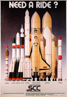 || Space Commerce Corporation's (USSR's space program) rocket lineup on a poster, including the ill-fated Buran-Energiya. From the collection of NASM
