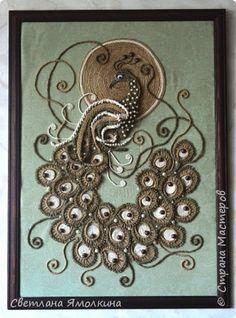 Картина панно рисунок Аппликация Макраме Панно Райская птичка  Бусины Клей Проволока Шпагат фото 1