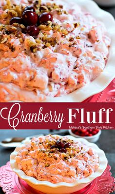 Serve this light and billowy Cranberry Fluff ias a dessert or as a fruity salad along with savory dishes at the holidays. Cranberry Fluff, Cranberry Salad, Cranberry Recipes, Thanksgiving Recipes, Holiday Recipes, Christmas Recipes, Thanksgiving Sides, Christmas Foods, Easter Recipes