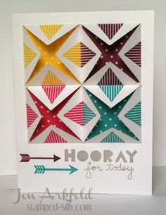 Stamped Silly: Gettin' Geometrical!  Fun Folds using Stampin' Up! DSP and the Geometrical stamp set.