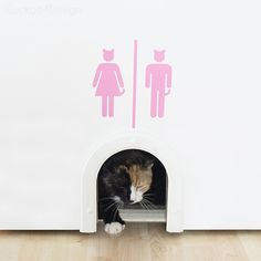 You can buy this unique Vinyl Cat Litter Box Sign in my Etsy shop. It is perfect paired with this cat door,