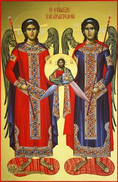 Synaxis of the Archangels Religious Images, Religious Icons, Religious Art, Byzantine Icons, Byzantine Art, Religion, Archangel Michael, Orthodox Icons, Sacred Art
