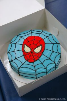 To celebrate my son Matthew& birthday, I made him a Spiderman birthday cake to go along with the Spiderman cookies that I made as. Spiderman Torte, Spiderman Cookies, Spiderman Birthday Cake, Superhero Cake, Superhero Birthday Party, Spiderman Face, Deco Cupcake, Themed Birthday Cakes