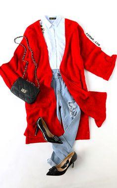 Red Roll Cuff Split Side Pocket Cardigan