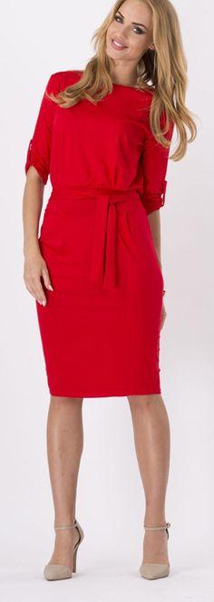 d6ca9953afef Womens Elegant Retro 3 4 Sleeve Tunic Sheath Belted Casual Party Bodycon  Sheath Dress