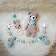 """Guckt euch mal dieses süße Set aus Wagenkette, Babyschalenanhänger und Schmusebärchen für den """"große - tina_empunkt"""