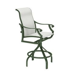 "Tropitone Montreux II Sling Swivel 25"" Bar Stool Finish: Parchment, Seat Color: Sparkling Water"