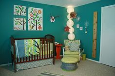 cute teal room for baby girl!