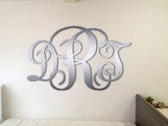 Metal Monogram Wall Art metal monogram door hanger, monogrammed metal wreath, monogram