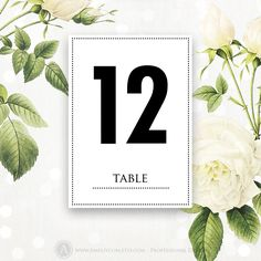 """Printable Table Numbers Cards 5"""" x 7"""" INSTANT DOWNLOAD DIY for Print at Home. Modern White Wedding Table Tent Card Numbers from 1 to 20"""