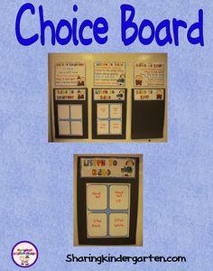 Choice Board - Sharing Kindergarten