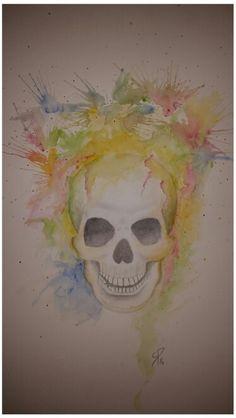 Tete de mort aquarelle