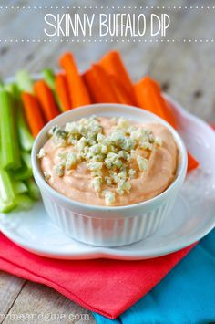 Skinny Buffalo Dip | www.wineadglue.com | A super easy and healthy appetizer!