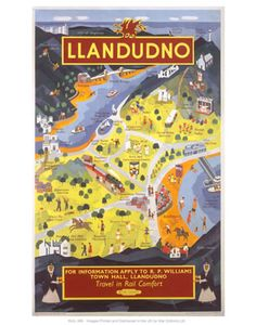 Llandudno Art Print by National Railway Museum at King & McGaw Poster Vintage, Vintage Maps, Vintage Travel Posters, Vintage Prints, Posters Uk, Railway Posters, Retro Posters, Information Art, British Travel