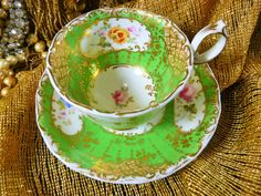 ANTIQUE MINTON COFFEE  CUP AND  SAUCER  GREEN HP FLOWERS MOLDED RIMS GOLD c1840  #VERYROCOCO #MINTON