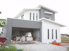 Dulux Malay Grey around garage and step outs Grey Exterior, Exterior Cladding, Exterior Paint Colors, Exterior House Colors, Modern Exterior, Paint Colours, Home Exterior Makeover, Grey Houses, House Elevation