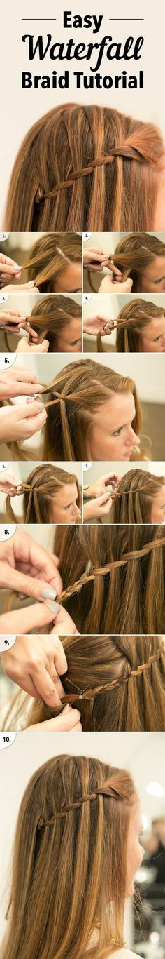 easy waterfall braid tutorial for diy wedding hairstyle ideas: (Cool Easy Hairstyles) 12 Different Types of Braids You Should Totally Tr. Two easy ways to pin back your hair 20 Waterfall Braid Tutorials Adding Beautiful Twis. Ponytail Hairstyles, Braided Hairstyles, Hairstyle Ideas, Easy Hairstyle, Hairstyle Tutorials, Easy Updo, Hair Ideas, Dutch Braid Tutorials, Hair Buns