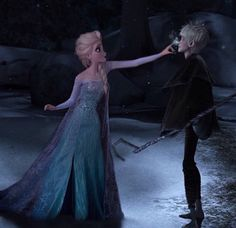 It's opposite day: Elsa nips Jack's nose...or pokes? I'd stick with nip because it makes more sense