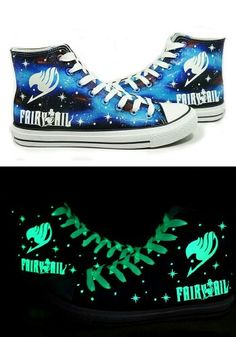 Glow in the dark Fairy Tail converse sneakers (☆^ー^☆) #fairytail #converse