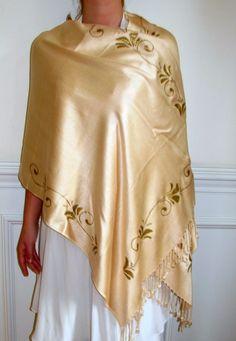 Elegant Gold Hand Painted Upscale Pashmina