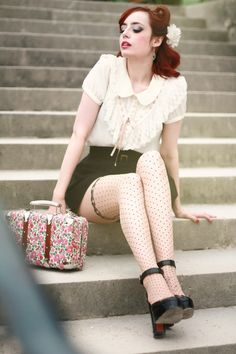 vintage briefcase with classic outfit