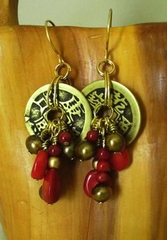 LUCKY CHARMS! Chinese coin dangle earrings with freshwater pearls and bamboo coral beads, brass and red Chinese Cash earrings via Etsy